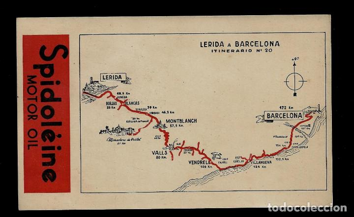 ANTIGUA POSTAL - SPIDOLEINE - ITINERARIOS - Nº 20 - LERIDA A BARCELONA (Postkarten - Thematische Postkarten - Werbe-Postkarten)
