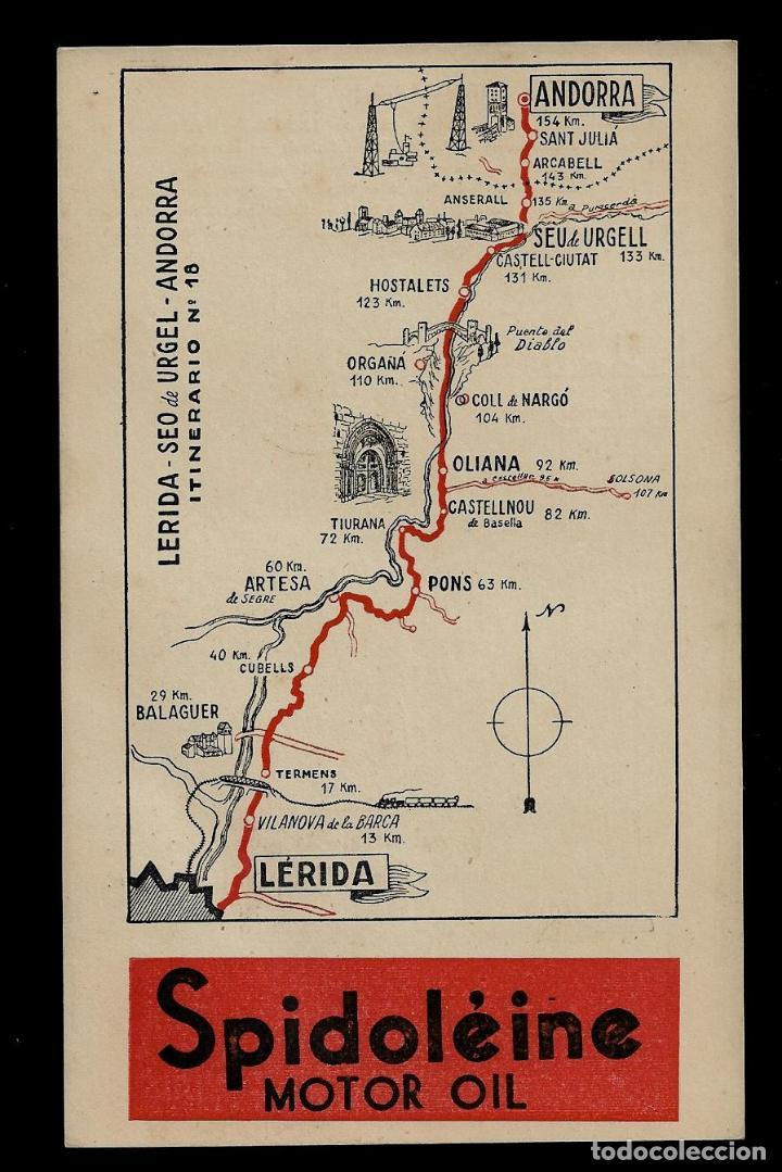 ANTIGUA POSTAL - SPIDOLEINE - ITINERARIO Nº 18 - LERIDA-SEO DE URGELL-ANDORRA (Postkarten - Thematische Postkarten - Werbe-Postkarten)