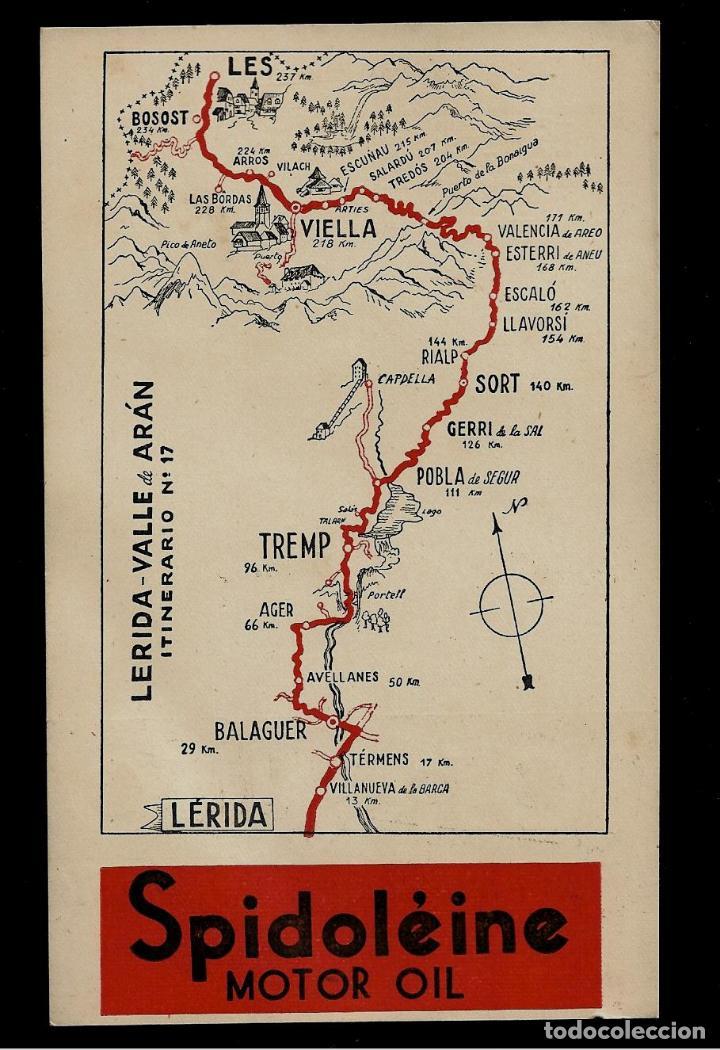 ANTIGUA POSTAL - SPIDOLEINE - ITINERARIO Nº 17 - LERIDA - VALLE DE ARAN (Postkarten - Thematische Postkarten - Werbe-Postkarten)