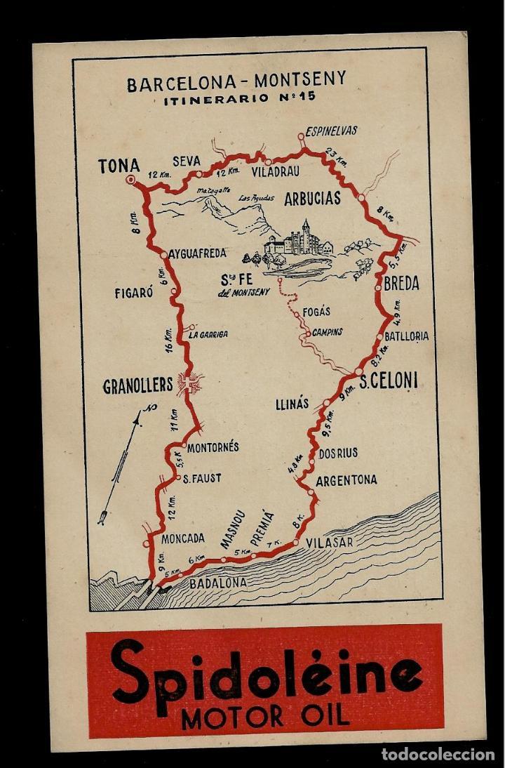 ANTIGUA POSTAL - SPIDOLEINE - ITINERARIO Nº 15 - BARCELONA-MONTSENY (Postkarten - Thematische Postkarten - Werbe-Postkarten)
