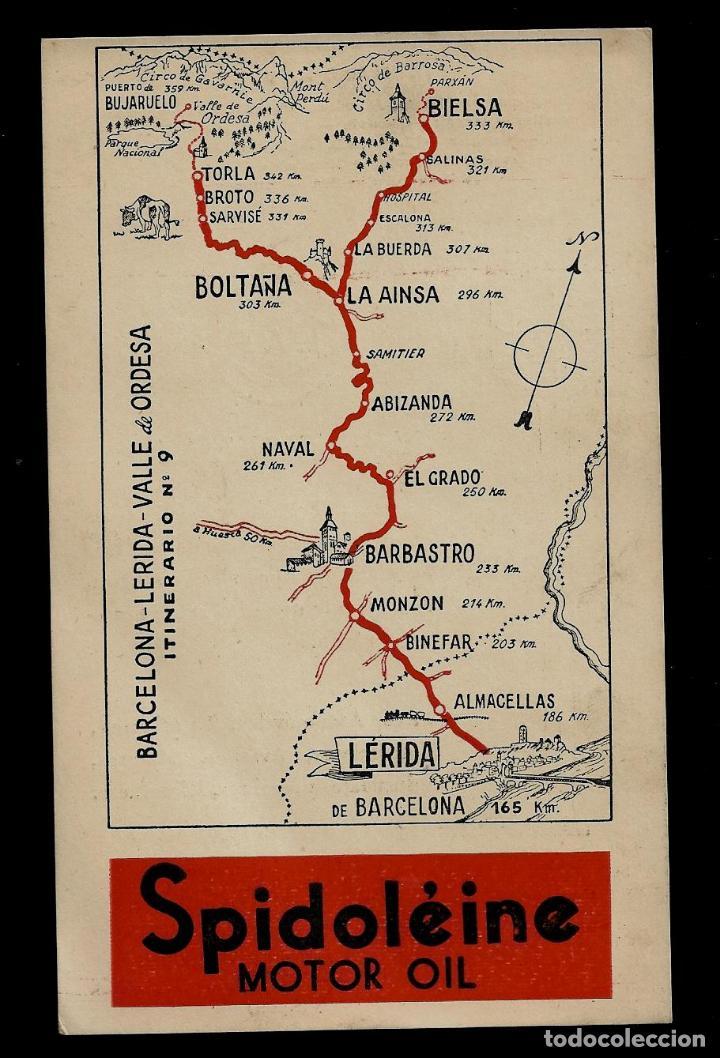 ANTIGUA POSTAL - SPIDOLEINE - ITINERARIO Nº 9 - BARCELONA-LERIDA-VALLE DE ORDESA (Postkarten - Thematische Postkarten - Werbe-Postkarten)