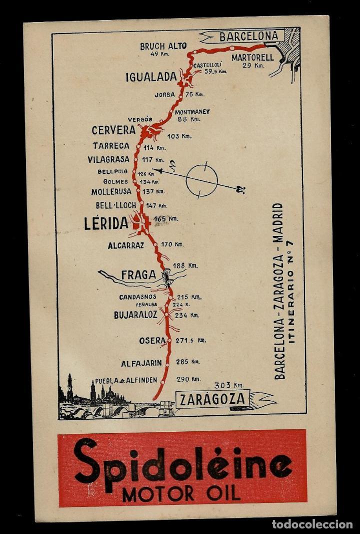 ANTIGUA POSTAL - SPIDOLEINE - ITINERARIO Nº 7 - BARCELONA-ZARAGOZA-MADRID (Postkarten - Thematische Postkarten - Werbe-Postkarten)