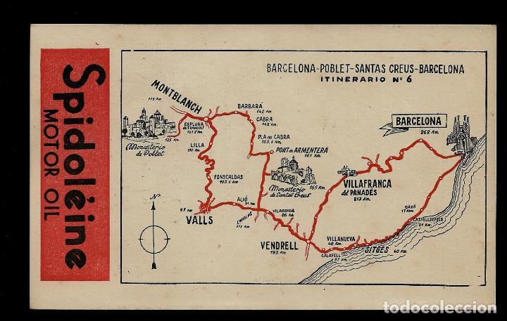 ANTIGUA POSTAL - SPIDOLEINE - ITINERARIO Nº 6 - BARCELONA-POBLET-SANTAS CREUS-BARCELONA. (Postkarten - Thematische Postkarten - Werbe-Postkarten)