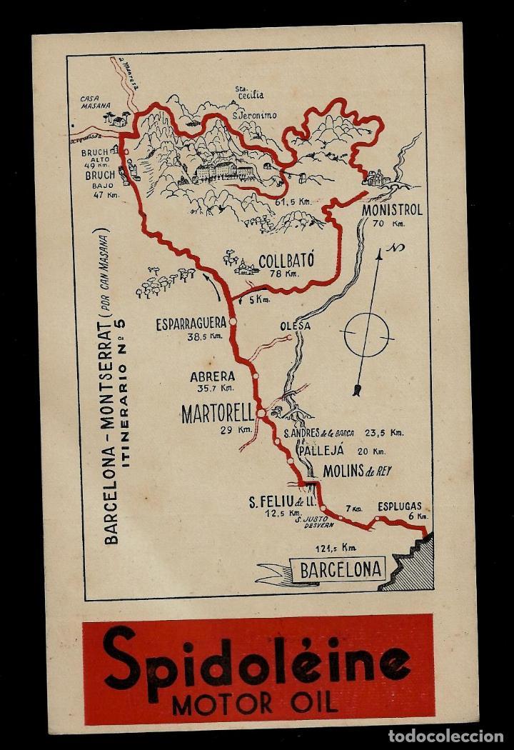 ANTIGUA POSTAL. - SPIDOLEINE - ITINERARIO Nº 5 - BARCELONA-MONTSERRAT (Postkarten - Thematische Postkarten - Werbe-Postkarten)