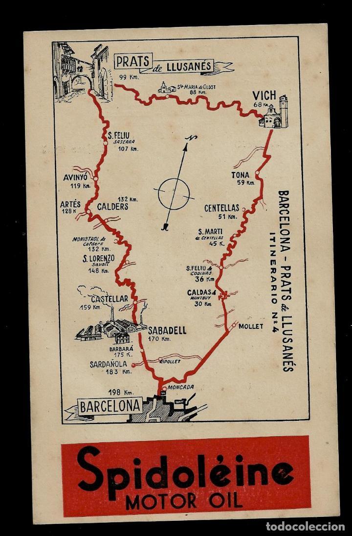 ANTIGUA POSTAL - SPIDOLEINE - ITINERARIO Nº 4 - BARCELONA-PRATS DE LLUSANES (Postkarten - Thematische Postkarten - Werbe-Postkarten)