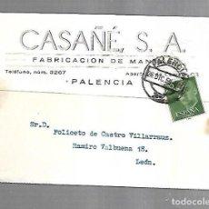 Postales: TARJETA POSTAL PUBLICITARIA. CASAÑE S,A. FABRICACION DE MANTAS. PALENCIA. 1959. VER DORSO. Lote 149291914