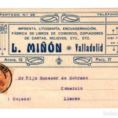 Postales: TARJETA POSTAL PUBLICIDAD IMPRENTA LITOGRAFÍA L. MIÑÓN. VALLADOLID 1923. Lote 150545178