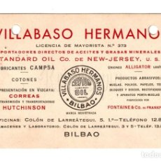 Postales: PUBLICIDAD IMPORTACIÓN DE ACEITES VILLABASO HERMANOS. STANDARD NEPTUM OIL. BILBAO. Lote 150545454