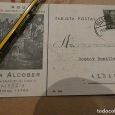 Postales: VALENCIA. CASA ALCOBER, AGUA PARA RIEGOS Y POBLACIONES, AÑO 1957. Lote 150632294