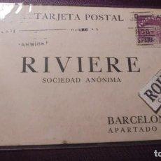 Postales: BARCELONA - POSTAL RIVIERE , SOCIEDAD ANÓNIMA - CIRCULADA 14X9 CM. MANDADA POR LA CASA PICKMAN -SEVI. Lote 151002754