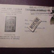 Postales: ANTIGUA POSTAL LIBRERIA EDITORIAL TIP. CAT. CASALS LE PIDEN AL DIBUJANTE LAS DOS CONTRAPORTADAS PARA. Lote 151078714