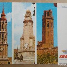 Postales: POSTAL IBERIA LINEAS AEREAS DE ESPAÑA. ZARAGOZA MADRID LERIDA. Lote 151995510