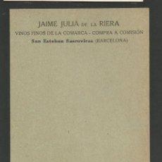 Postales: SAN ESTEBAN SASROVIRAS-SANT ESTEVE SESROVIRES-PUBLICIDAD VINOS FINOS COMARCA JAIME JULIA-(57.404). Lote 153396190