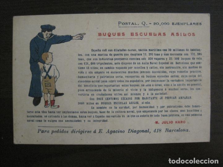 BUQUES ESCUELAS ASILOS-BARCELONA-POSTAL MARITIMA PUBLICITARIA-VER FOTOS-(57.943) (Postales - Postales Temáticas - Publicitarias)