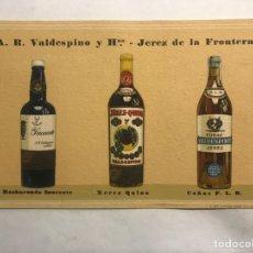 Postales: PUBLICIDAD. LICORES Y VINOS. TARJETA POSTAL A.R. VALDESPINO Y HNOS. JEREZ DE LA FRONTERA (CÁDIZ). Lote 158341657