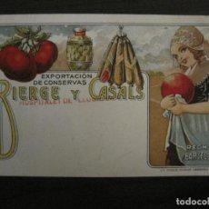 Postales: BIRGE Y CASALS-EXPORTACION CONSERVAS-BARCELONA-POSTAL PUBLICITARIA ANTIGUA-VER FOTOS-(58.263). Lote 158442618