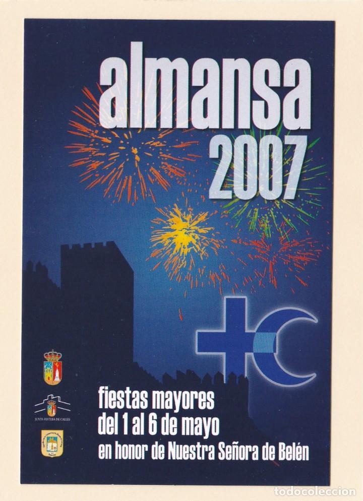 eba2da228f7 POSTAL PUBLICITARIA ALMANSA (ALBACETE). CARTEL FIESTAS MAYORES. NUESTRA  SRA. DE BELEN