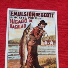 Postales: EMULSIÓN DE SCOTT ACEITE HÍGADO DE BACALAO. Lote 209997498