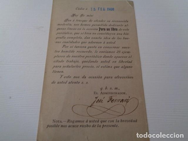 Postales: REVISTA ANDALUZA. CÁDIZ, 1908. DIRIGIDA AL DIPUTADO NACIONAL POR TERUEL, EUGENIO GOMEZ PEREZ - Foto 2 - 160057722