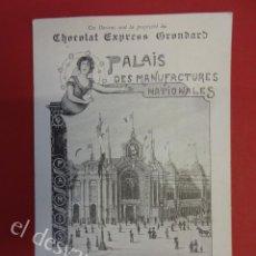 Postales: ANTIGUA POSTAL PUBLICITARIA CHOCOLAT EXPRESS GRONDARD. EXPOSICION PARIS 1900. Lote 160327070