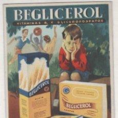 Postales: PUBLICIDAD FARMACIA, BEGLICEROL VITAMINAS B. LABORATORIOS GALJAN. MADRID.. Lote 194004097