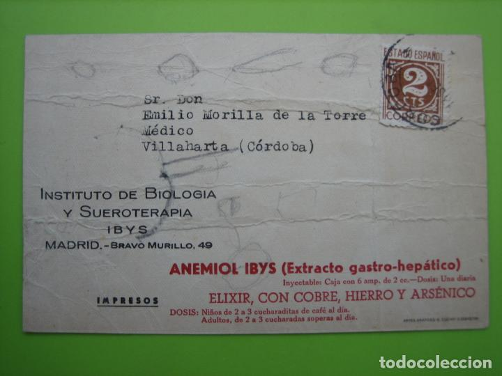 Postales: Antigua postal con publicidad Anemiol Ibys. Madrid. Cordoba - Foto 2 - 163605590