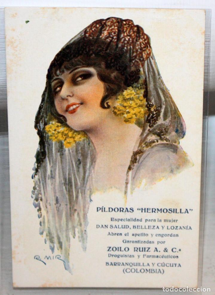 POSTAL PUBLICITARIA DE ESTILO MODERNISTA. ILUSTRADA POR R. MIR - PILDORAS HERMOSILLA - SIN CIRCULAR (Postales - Postales Temáticas - Publicitarias)