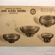 Postales: VALENCIA. POSTAL PUBLICITARIA. FÁBRICA DE CRISTAL JUAN ALSINA BOGUÑA. (A.1968). Lote 165281362