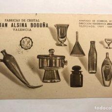 Postales: VALENCIA. POSTAL PUBLICITARIA. FÁBRICA DE CRISTAL JUAN ALSINA BOGUÑA. (A.1968). Lote 165281554