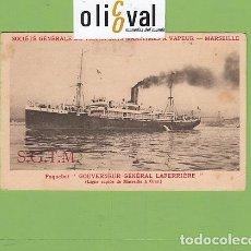 Postales: POSTAL BARCOS SGTM PAQUEBOT GOUVERNEUR GÉNERAL LARRIERE MARSEILLE ORAN INF DORSO PE02715. Lote 168840528