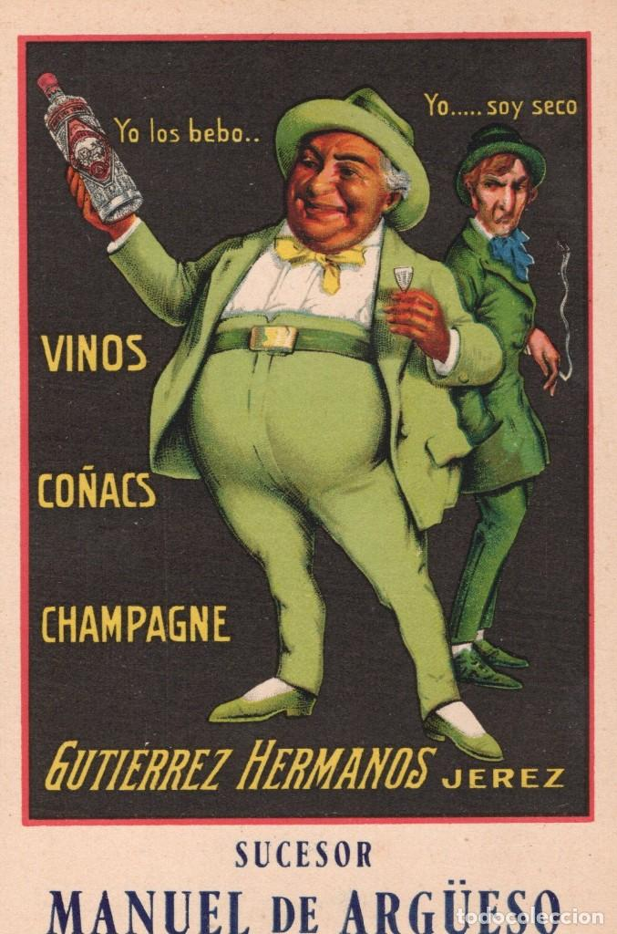 JEREZ. VINOS COÑACS Y CHAMPAGNE GUTIERREZ HNOS (Postales - Postales Temáticas - Publicitarias)