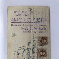 Postales: VALENCIA. PUBLICIDAD ANTONIO FUSTER. DROGAS, COLORES, PINCELES..FELIZ Y PRÓSPERO AÑO 1948. Lote 170567730