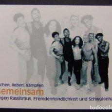 Postales: PREVENCION CONTRA EL VIH SIDA AIDS -LACHEN, LIEBEN ,KÄMPFEN GEMEINSAM GEGEN RASSISMUS,FREMDENFEINDLI. Lote 170975827