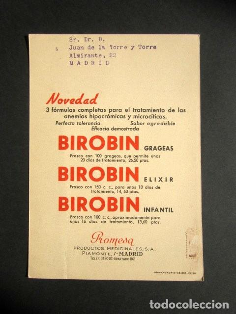 Postales: TARJETA ILUSTRADA PUBLICIDAD FARMACÉUTICA REVERSO. MEDICINA, FARMACIA. DIBUJO DE NENHUYS. BIROBIN. - Foto 2 - 171311013