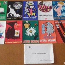 Postales: LOTE DE 12 POSTALES F. N. M. T. SERIE A COMPLETA, 1968. SERVICIO NACIONAL DE LOTERIAS, 2ª EDICIÓN.. Lote 171518389
