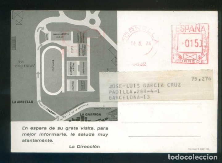Postales: La Garriga. TP publicitaria *Complejo Docente Colegio Alpe* Circulada 1974 rodillo tinta roja. - Foto 2 - 3962284