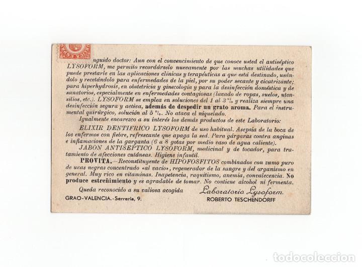 Postales: POSTAL PUBLICITARIA LABORATORIO LYSOFORM - VALENCIA - Foto 2 - 172062983