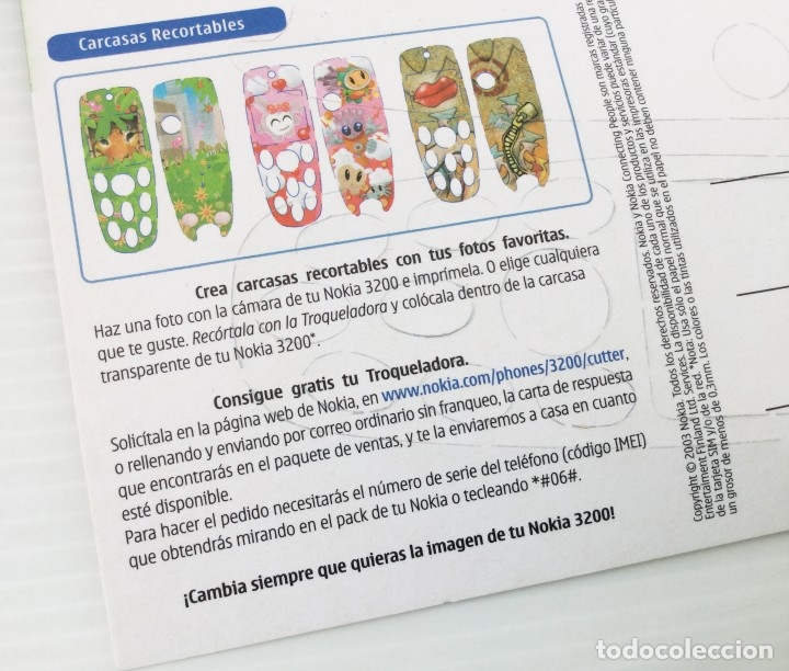 Postales: Carcasa recortable para el Nokia 3200 – año 2003 - Foto 4 - 172690557