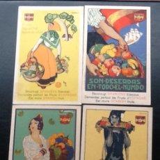 Postales: SERIE COMPLETA DE 4 POSTALES, FRUTAS DE ESPAÑA, PENAGOS,MORELL.... Lote 175898769
