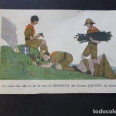 Postales: HEMOSTYL DEL DOCTOR ROUSSEL POSTAL PUBICITARIA ART DECÓ EXPLORADORES. Lote 175934095