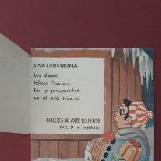 Postales: TARJETA PUBLICITARIA SANTARRUFINA. TALLERES DE ARTE RELIGIOSO, MADRID. W. Lote 175989668
