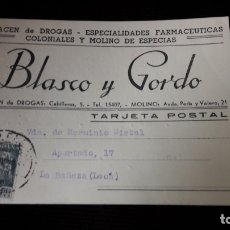 Postales: TARJETA POSTAL COMERCIAL DE BLASCO Y GORDO. Lote 176128405