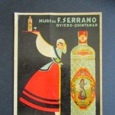Postales: POSTAL PUBLICITARIA HIJOS DE F. SERRANO. OVIEDO-QUINTANAR. ANIS DE LA ASTURIANA. . Lote 176821550