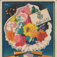 Postales: POSTAL GRAN FERIA DE VALENCIA JULIO 1955 - LITOGRAFIA S. DURA - S/C. Lote 177963114
