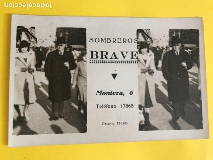 SOMBREROS BRAVE PUBLICIDAD POSTAL 1920 NUMERADA PERFECTO ESTADO FOTOGRAFIA MADRID PAREJA SOBRERO (Postales - Postales Temáticas - Publicitarias)