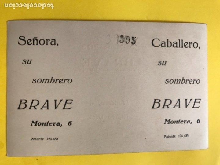 Postales: Sombreros brave publicidad postal 1920 numerada perfecto estado fotografia madrid pareja sobrero - Foto 2 - 179063207