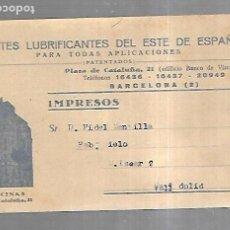 Postales: TARJETA POSTAL CON PUBLICIDAD DE FARMACIA. ACEITES LUBRICANTES. BARCELONA. VER. Lote 179241400