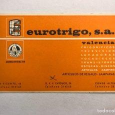 Postales: VALENCIA. POSTAL PÚBLICITARIA EUROTRIGO, TIENDA DE REGALOS , ELECTRODOMÉSTICOS...(H.1970?). Lote 179331206