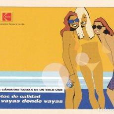 Postales: POSTAL PUBLICITARIA KODAK. NUEVAS CAMARAS DE UN SOLO USO. Lote 180040372