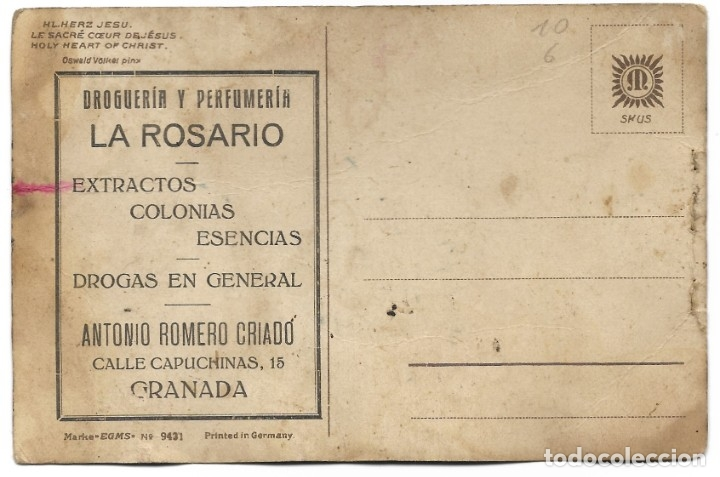 Postales: POSTAL PUBLICIDAD DROGUERÍA Y PERFUMERÍA LA ROSARIO, EXTRACTOR, COLONIAS Y ESENCIAS - GRANADA - Foto 2 - 180110868